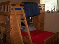 Here is a nice wooden complete twin over twin loft bunk