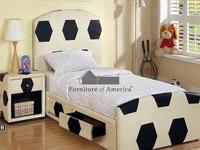 Soccer Platform Bed with Padded Upholstery Headboard