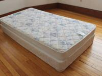 This set of basic twin size mattress and foundation box