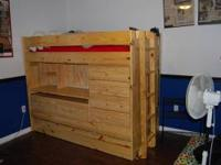 Twin size, solid wood loft bed with everything you need