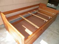 Pine wood trundle bed in great condition, includes two