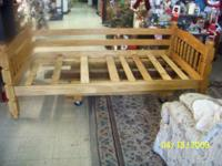 VERY NICE TWIN OAK BED WITH SLATS.........YOU CAN SEE