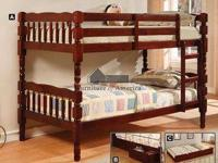 Twin Size All Wood Bunk Bed   2 Colors to Choose From
