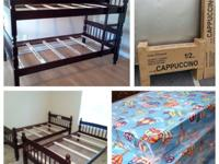 Wood twin bunk bed sets with two mattress in Espresso