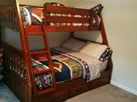 TWIN/FULL STORAGE BUNK BED W/ DRESSER.. very sturdy ..