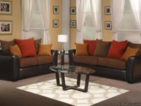 2 Pcs. Chocolate Contemporary Sofa and Loveseat Set A
