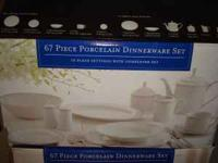 67 Piece Porcelain Dinner Ware set. 1 for $65 ot both
