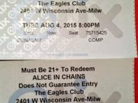 I have two tickets for Alice in Chains on Tuesday,