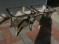 TWO BEAUTIFUL METAL END TABLES WITH DESIGNS IN THE