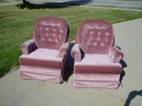 Two Beautiful Stuffed Swivel Chairs in very nice