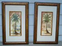 Two decorative Palm Tree prints. Mediterranean look.