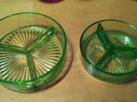Two beautiful clear green glass candy dishes, divided