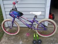 "20"" Huffy with helmet,training wheels, 25.00 16"" Next"