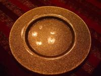 TWO GOLD METALLIC GLASS CHARGER PLATES. A CHARGER PLATE