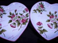 Pair of Heart Shaped China Plates Love Amour Roses Pair