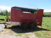 Two horse bumper pull trailer. Small tack area in