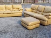 Two Leather Couches w / Footrest. Italian. Utilized -