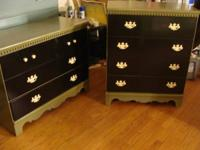 2 matching dressers, freshly repainted dark sage black