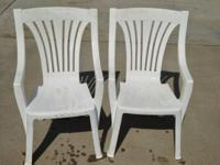 TWO OUTDOOR PLASTIC CHAIRS IN EXCELLENT CONDITION.  THE