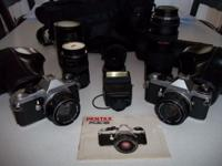 You are viewing two 35 mm SLR Pentax ME Super camera