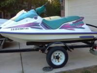 Pair of 1995 Seadoo Jetski (XP, SP) on trailer with