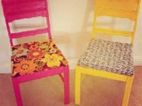Two adorably redone shabby chic dining chairs. Brand