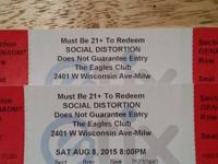 Two tickets to see Social Distortion, pioneering punk