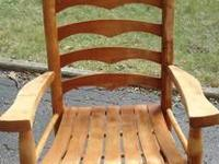 Two Sturdy Hoop Back Wooden Chairs sold as a pair. Good