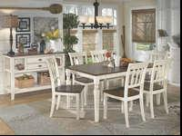 Dining Height table in cream or black, with dark brown
