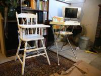 We have two vintage highchairs, one is all wood white