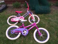 Two little girls huffy bikes Both r in good shape and
