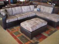 *** TWO TONE SECTIONAL SOFA/COUCH W/OTTOMAN - BRAND