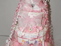 Ty baby puppy pink 3 tier diaper cake baby