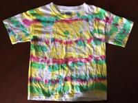 Various colored tye dye short sleeve t-shirts for