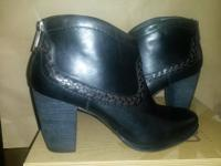 Brand new never worn black leather ankle boots with