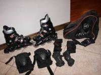 Ultra wheels In Line Skates with pads and bag - Mens