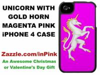 A Unicorn with Golden Horn and Tail on a Magenta Pink