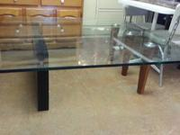 Unique Baroque Style Thick Glass Dining Table With 4
