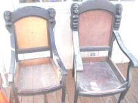 2 very unusual wood chair frames. Louis XIV style.