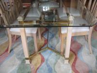 Splendid dining room glass table with 6 chairs set.