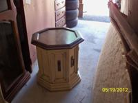 "Pair of unique wood round end tables being sold ""AS IS"""