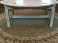 Unique Oak Coffee Tray Table.  Color: White distressed.