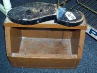 This is a really cool item! All wood shoeshine box...a