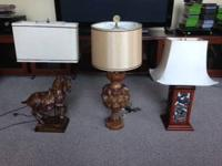 Unique vintage table lamps for sale. 1.) Horse design
