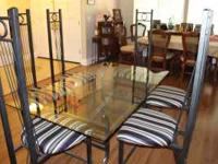 "METAL WITH 5/16TH "" THICK GLASS TOP 6 CHAIRS NEWLY"