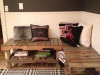 Durable wood benches built out of wooden pallet boards.