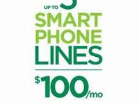 3, 4, or 5 Smart Phone Lines of Service $100  Unlimited
