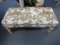 Unique beautifully upholstered bench with Tiger scene.
