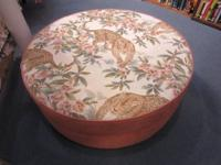 Unique beautifully upholstered ottoman with tiger