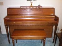 Black upright Piano, could use some refinishing color